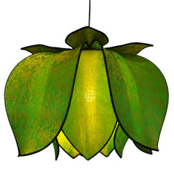 Hanging Blooming Lotus Lamp 2 Ft - Special Order Only, Lime / Hardwire Kit