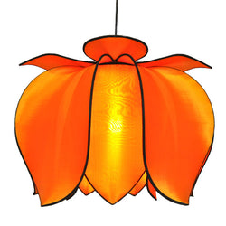 Hanging Blooming Lotus Lamp 2 Ft - Special Order Only, Orange / Hardwire Kit