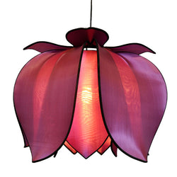 Hanging Blooming Lotus Lamp 2 Ft - Special Order Only, Purple / Hardwire Kit