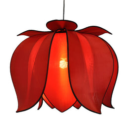 Hanging Blooming Lotus Lamp 2 Ft - Special Order Only, Red / Hardwire Kit