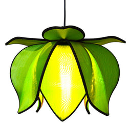Hanging Baby Blooming Lotus Lamp, Green / 12' Swag Kit
