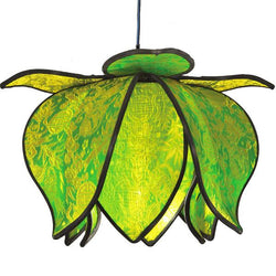 Hanging Baby Blooming Lotus Lamp, Lime / 12' Swag Kit