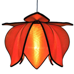 Hanging Baby Blooming Lotus Lamp, Orange / 12' Swag Kit