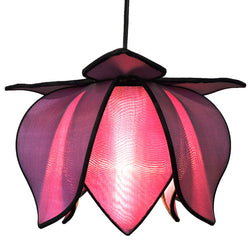 Hanging Baby Blooming Lotus Lamp, Purple / 12' Swag Kit
