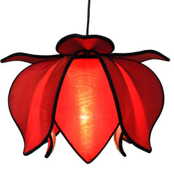 Hanging Baby Blooming Lotus Lamp, Red / 12' Swag Kit