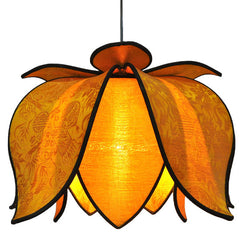 Hanging Blooming Lotus Lamp, Gold / 12' Swag Kit