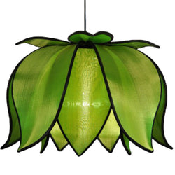 Hanging Blooming Lotus Lamp, Green / 12' Swag Kit