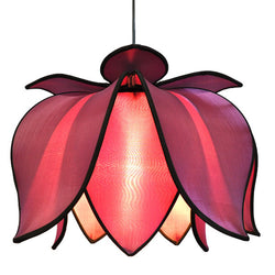 Hanging Blooming Lotus Lamp, Purple / 12' Swag Kit