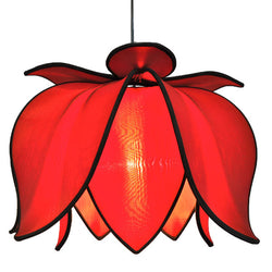 Hanging Blooming Lotus Lamp, Red / 12' Swag Kit