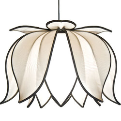 Hanging Blooming Lotus Lamp, White / 12' Swag Kit