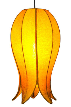 Hanging Flowering Lotus Lamp Medium, Gold / 12' Swag Kit