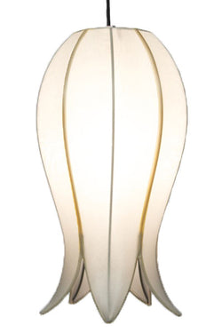 Hanging Flowering Lotus Lamp Medium, White / 12' Swag Kit