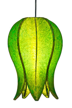 Hanging Flowering Lotus Lamp Small, Lime / Hardwire Kit