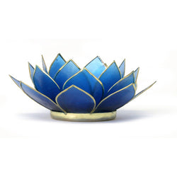 Gemstone Lotus Tea Light Holder, Sapphire