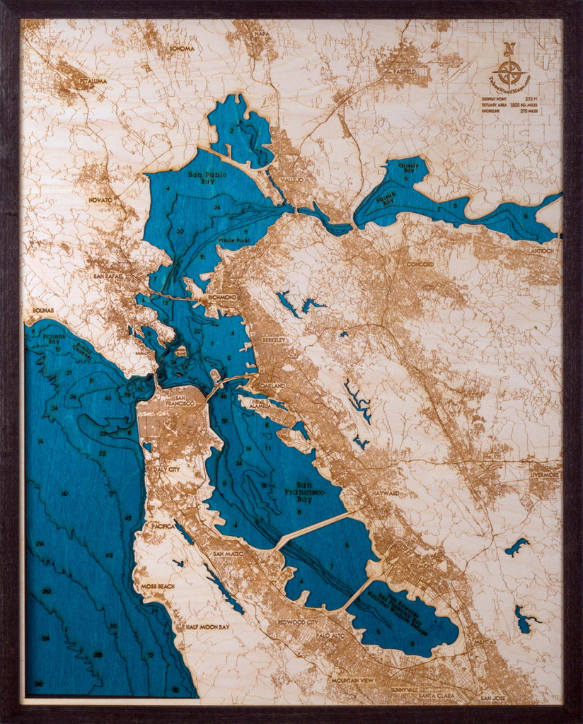 Large San Francisco Bay Area 3D Wood Map