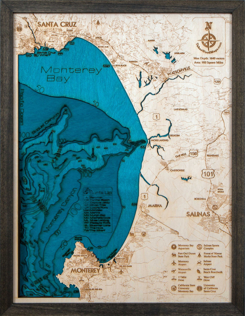 Monterey Bay 3D Wood Map