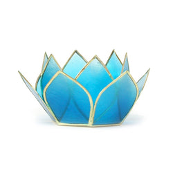 Mini Gemstone Lotus Tea Light Holder, Turquoise