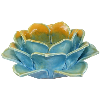Blue Porcelain Lotus Candle-Holder