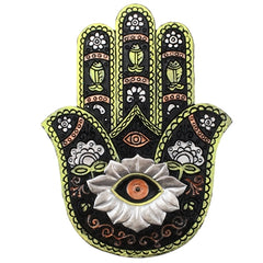 Hamsa Incense Holder - Silver & Green