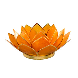 Capiz Lotus Tea Light Holder With Single Stand Set (Circle Base), Amber