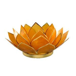 Gemstone Lotus Tea Light Holder, Amber