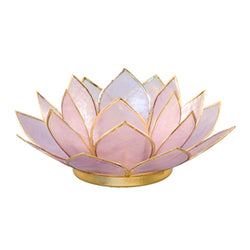 Capiz Lotus Tea Light Holder With Single Stand Set (Circle Base), Amethyst