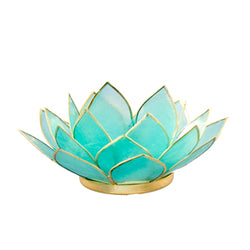 Capiz Lotus Tea Light Holder With Single Stand Set (Circle Base), Aquamarine