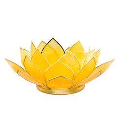 Capiz Lotus Tea Light Holder With Single Stand Set (Circle Base), Citrine