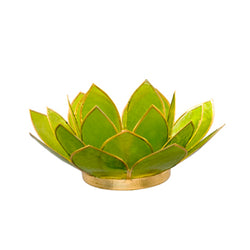 Capiz Lotus Tea Light Holder With Single Stand Set (Circle Base), Peridot