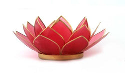 Capiz Lotus Tea Light Holder With Single Stand Set (Circle Base), Ruby