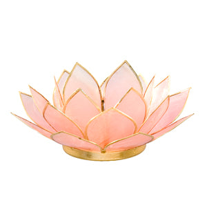 Capiz Lotus Tea Light Holder With Single Stand Set (Circle Base)