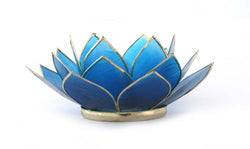 Capiz Lotus Tea Light Holder With Single Stand Set (Circle Base), Sapphire