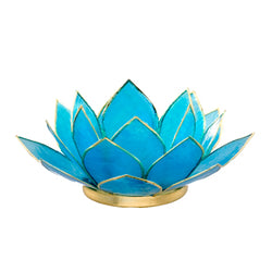 Capiz Lotus Tea Light Holder With Single Stand Set (Circle Base), Turquoise