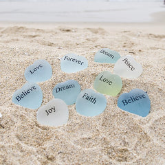 Mini Sea Glass Heart Stones