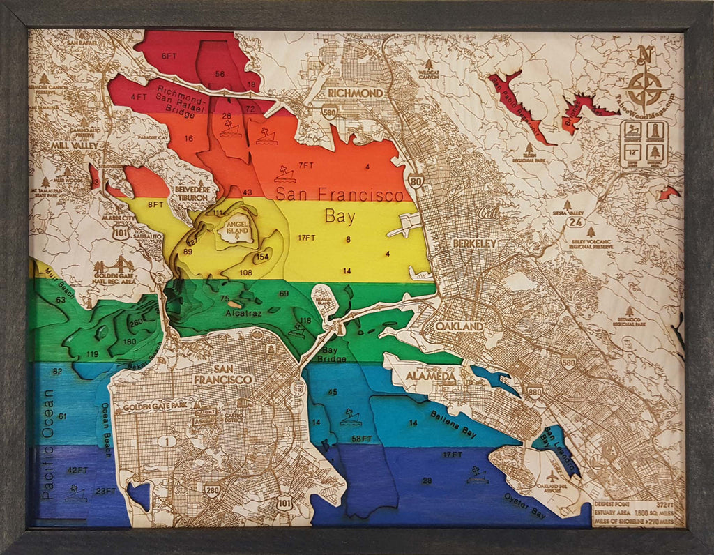 San Francisco Bay PRIDE 3D Wood Map