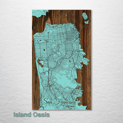 "SF Streets Wood Fired Map - Large (26.25"" x 44.25"")"