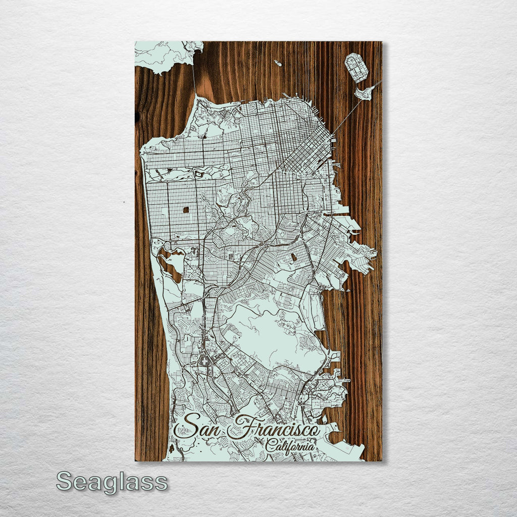 "SF Streets Wood Fired Map - Schmedium (14.5"" x 24"")"