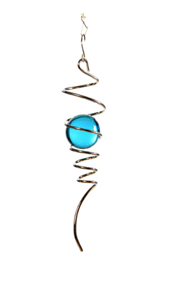 Wind Spinner Silver Spiral Tail, Gem Blue