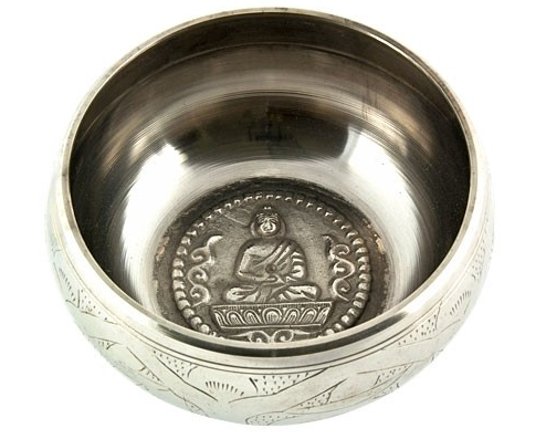 Silver White Tibetan Meditation Singing Bowl - 5