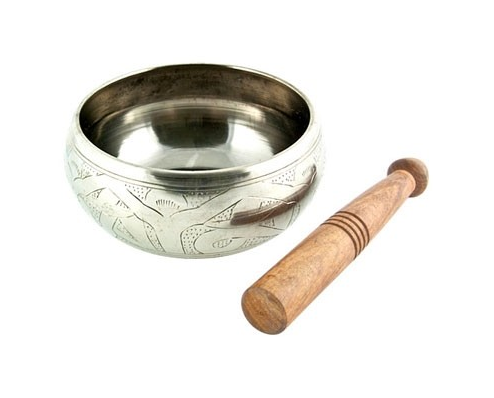 Silver White Tibetan Meditation Singing Bowl - 7