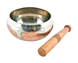 2-tone Silver White & Copper Tibetan Meditation Singing Bowl - 6