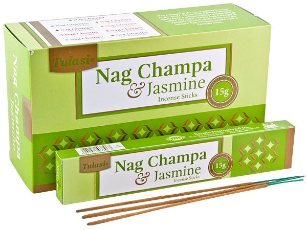 Tulasi Nag Champa & Jasmine Natural Incense - 15 Sticks Pack