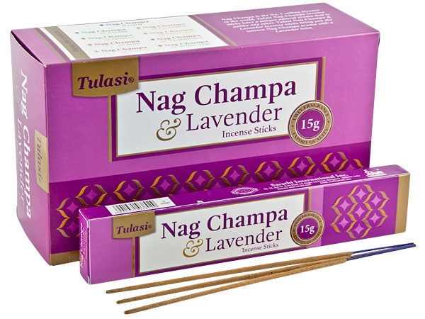 Tulasi Nag Champa & Lavender Natural Incense - 15 Sticks Pack