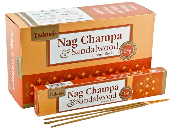 Tulasi Nag Champa & Sandalwood Natural Incense - 15 Sticks Pack