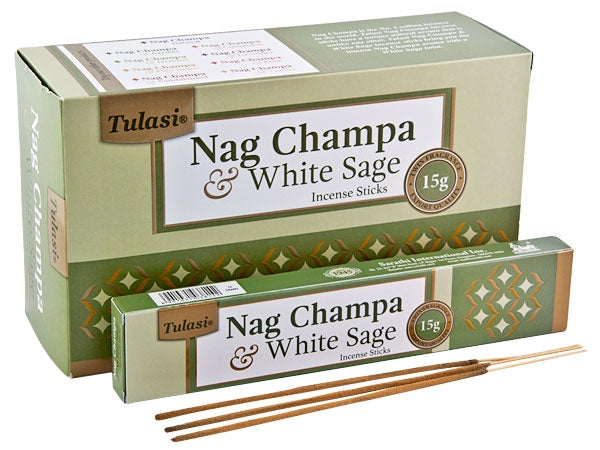 Tulasi Nag Champa & White Sage Natural Incense - 15 Sticks Pack