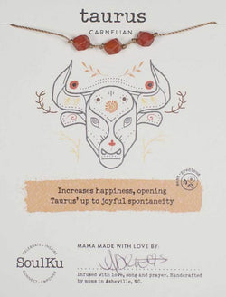 All Signs Zodiac Necklaces, Taurus (Carnelian)
