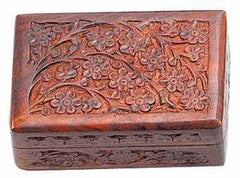 Floral Carved Wood Box
