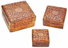 Floral Carved Wood Box, Set of 3