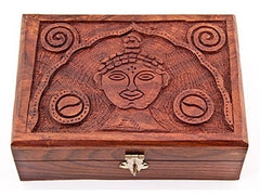 Lord Buddha Carved Wood Box