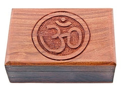 Om Carved Wood Box